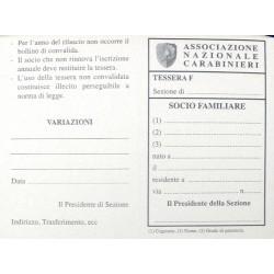Cartoncino Tessera SOCIO FAMILIARE SENZA NUMERO