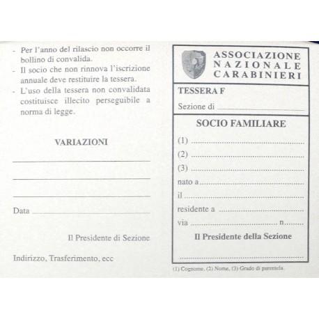 Cartoncino Tessera SOCIO FAMILIARE