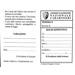 Cartoncino Tessera SOCIO EFFETTIVO con Numero Progressivo